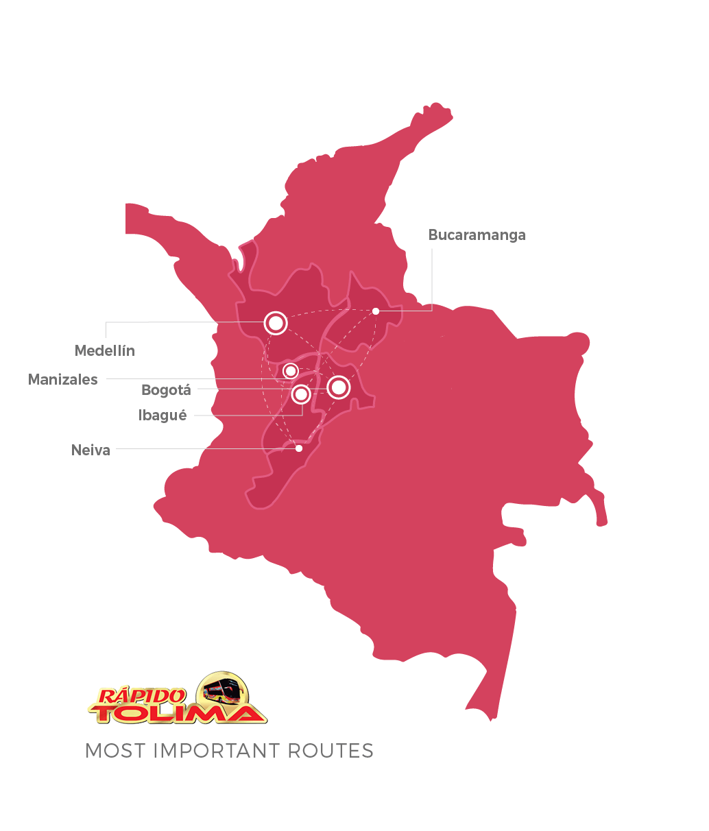 Rapido Tolima top destinations