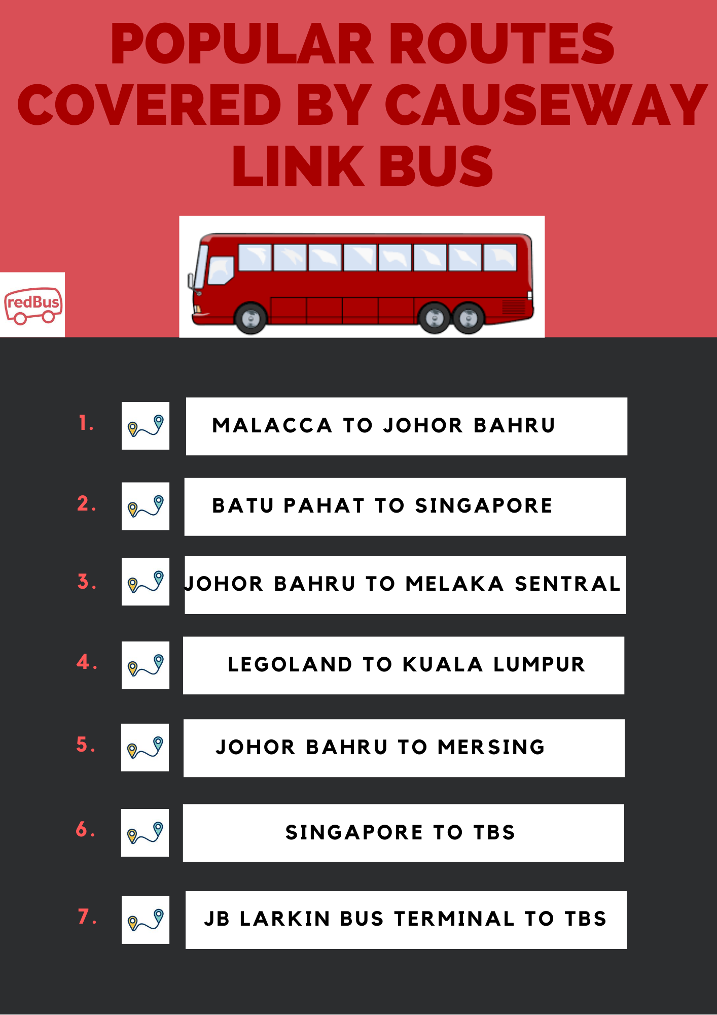 Popular Routes Covered by Causeway Link
