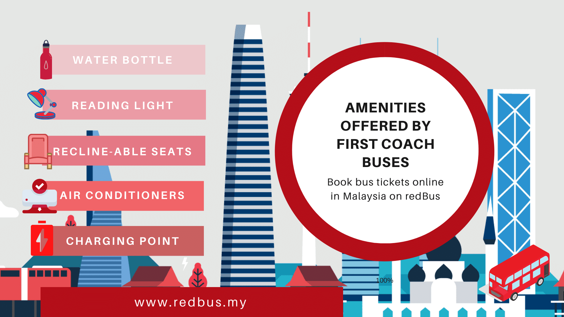 Amenities offered by First Coach Bus Malaysia