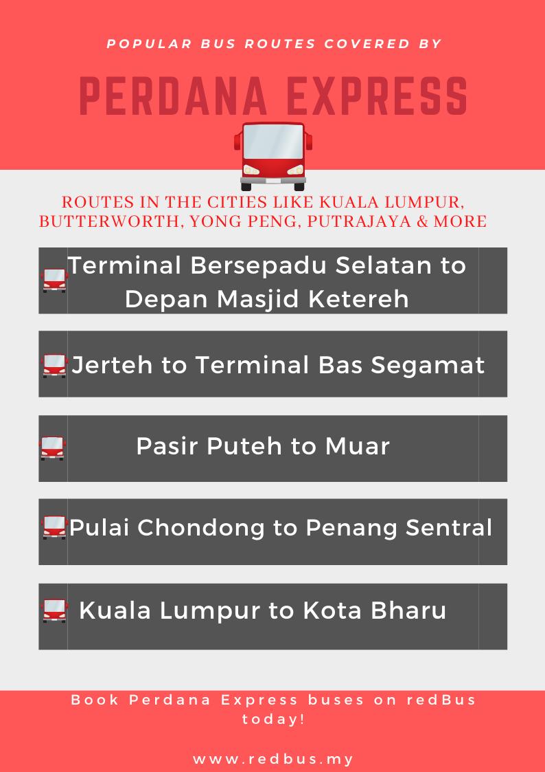 Perdana Express bus routes