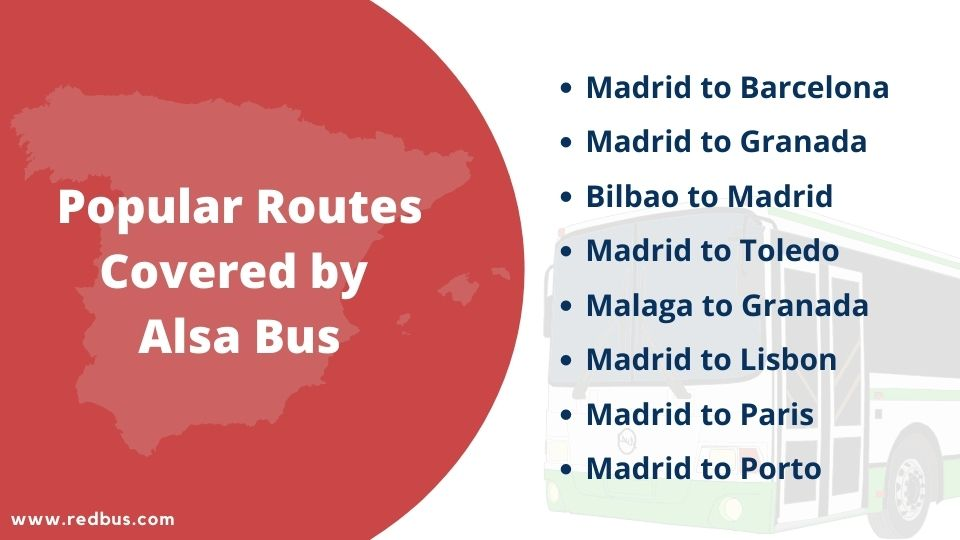 Popular Bus Routes covered by Alsa Buses