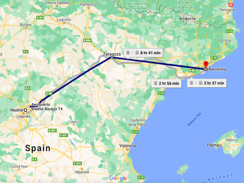 madrid to barcelona bus route distance