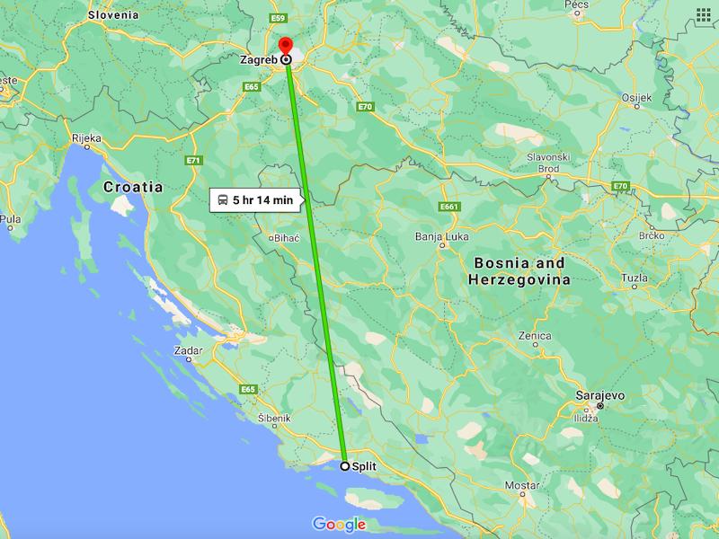 Split to Zagreb bus distance