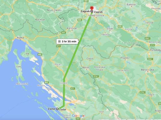 Zadar to Zagreb Bus Route Distance