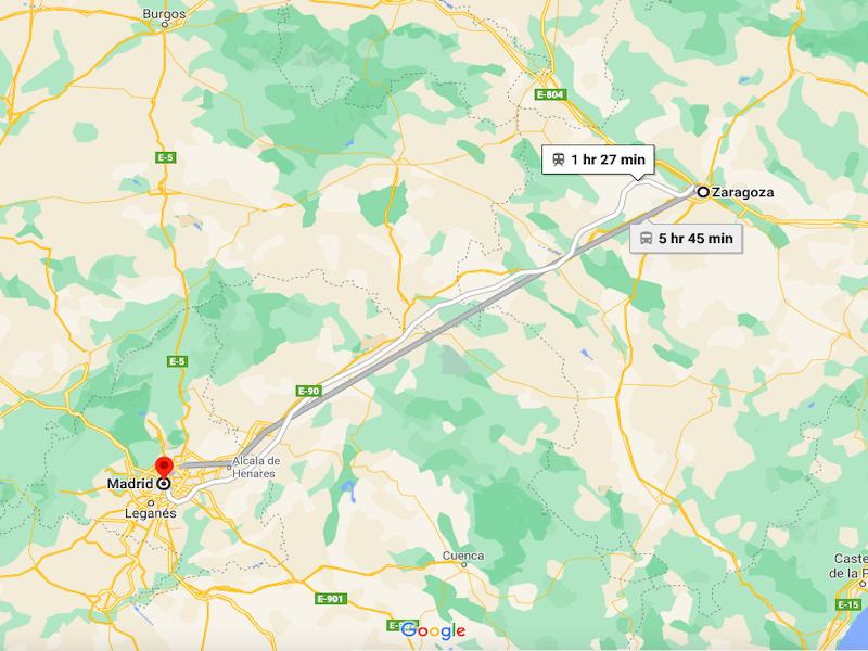 Zaragoza to Madrid Bus Route Distance